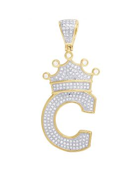 "10K Yellow Gold Diamond Tilted Crown Initial ""C"" Pendant 0.55 Ct 1.8"""