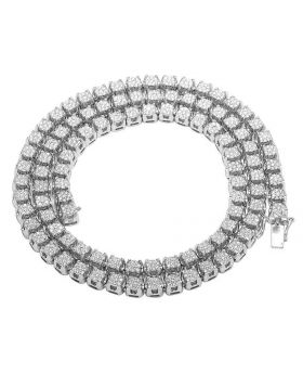 10K White Gold Diamond 6MM Cluster Tennis Chain Necklace 10 CT 24""