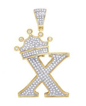 "10K Yellow Gold Diamond Tilted Crown Initial ""X"" Pendant 0.65 Ct 1.6"""