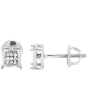 Unisex 10K White Gold Diamond 5MM Square Stud Earrings 0.10 Ct