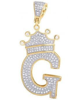 "10K Yellow Gold Diamond Tilted Crown Initial ""G"" Pendant 0.55 Ct 1.8"""