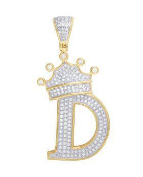 "10K Yellow Gold Diamond Tilted Crown Initial ""D"" Pendant 0.55 Ct 1.75"""