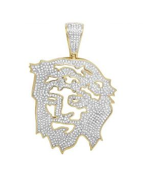 10K Yellow Gold Diamond Cutout Jesus Face Pendant 2.25 Ct 2.5""