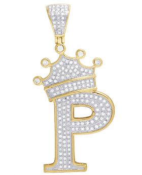 "10K Yellow Gold Diamond Tilted Crown Initial ""P"" Pendant 0.50 Ct 1.7"""