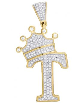 """10K Yellow Gold Diamond Tilted Crown Initial """"T"""" Pendant 0.50 Ct 1.6"""""""