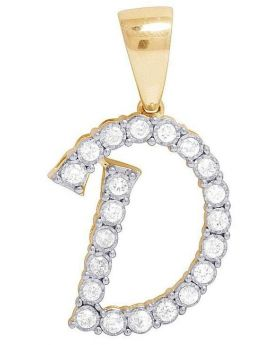 10K Yellow Gold Diamond Letter D Initial Pendant 0.52 Ct 1.1""