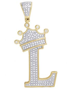 "10K Yellow Gold Diamond Tilted Crown Initial ""L"" Pendant 0.50 Ct 1.75"""