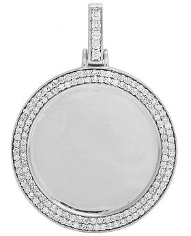 Mens 10K White Gold Memory Frame Medallion Photo Engrave Diamond Pendant 1.5 CT
