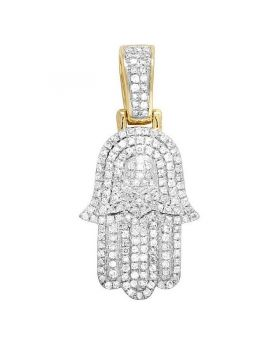 10K Yellow Gold Diamond Iced Hamsa Hand Pendant 0.50 CT 1.25""