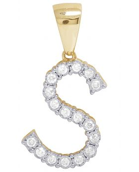 10K Yellow Gold Diamond Letter S Initial Pendant 0.42 Ct 1.1""