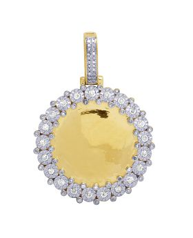 10K Yellow Gold Diamond Fanook Photo Engrave Medallion Pendant 1 CT 1.75""