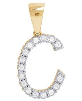 10K Yellow Gold Diamond Letter C Initial Pendant 0.33 Ct 1.1""
