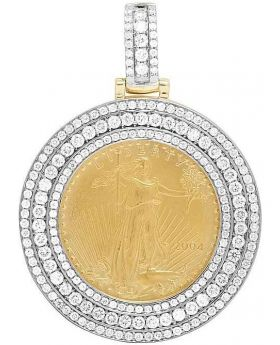 14K Yellow Gold Coin Lady Liberty 1/2 Ounce Pendant 3.10 Ct 2.1 Inch