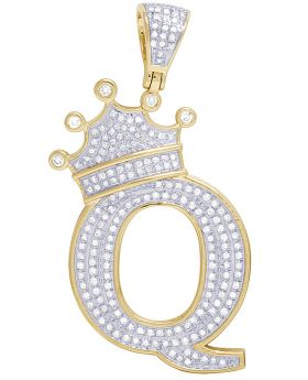 """10K Yellow Gold Diamond Tilted Crown Initial """"Q"""" Pendant 0.65 Ct 2"""""""