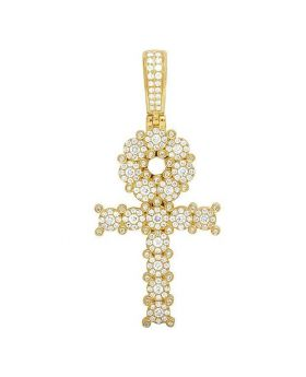 14K Yellow Gold Diamond Egyptian Cluster Ankh Cross Pendant 1.75 Ct 2""