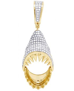 Diamond Shark Movable Jaw 10K Yellow Gold Pendant 0.50Ct 1.75""