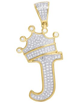 "10K Yellow Gold Diamond Tilted Crown Initial ""J"" Pendant 0.45 Ct 1.6"""