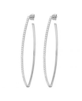 14K White Gold Diamond One Row Designer Hoop Earrings 1 Ct 2.3""