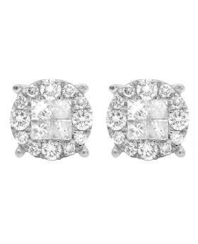 14K White Gold Diamond Princess Quad Round Stud Earring 1.25 Ct 8MM