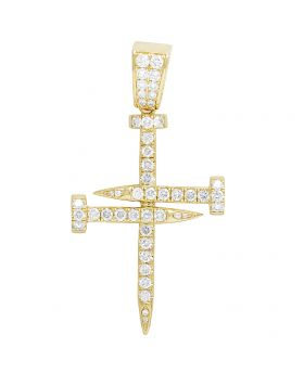 Solid 10K Yellow Gold Diamond Nail Cross Pendant 2.50 CT 2.1""