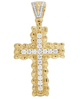 10K Yellow Gold One Row 2.5CT Diamond Cross Pendant 2.2 Inches