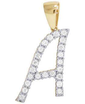 10K Yellow Gold Diamond Letter A Initial Pendant 0.50 Ct 1.3""