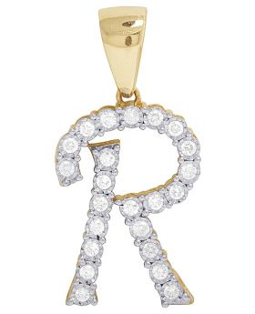 10K Yellow Gold Diamond Letter R Initial Pendant 0.50 Ct 1.1""