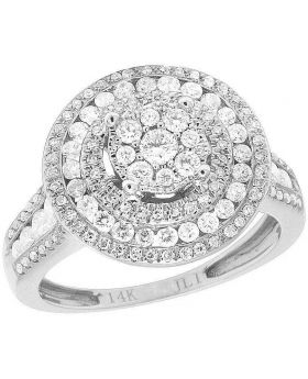 Ladies 14K White Gold Diamond Round Cluster Engagement Wedding Ring 1 Ct 15MM