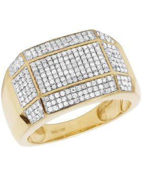 Men's 10K Yellow Gold Diamond Iced Curve Band Ring 1 CT 14MM