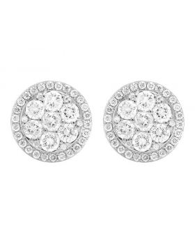 14K White Gold Real Diamond Round Cluster Studs Earring 1.5ct
