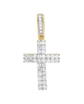 Real 10K Yellow Gold Diamond Two Row Cross Pendant 1 CT 1.2""