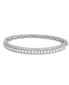 14K White Gold 10 Pts Solitaire Real Diamond Bangle Bracelet 4.65 CT
