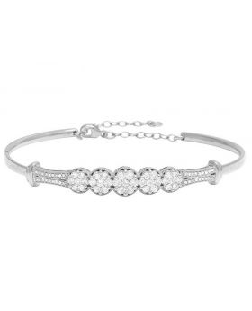 Ladies 10K White Gold Diamond 7MM Cluster Bangle Bracelet 1 CT