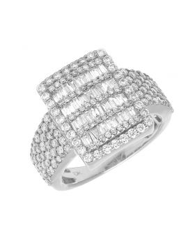 Men's 10K White Gold Real Baguette Diamond Bar Ring 2.75 CT 18MM