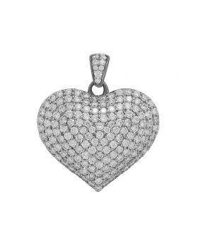 "14K White Gold Real Diamond Puff Heart Pendant 1"" 3 CT"