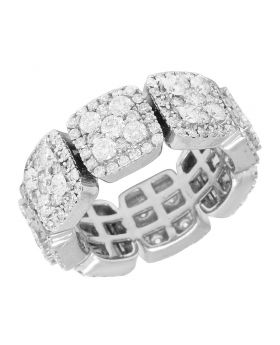 14K White Gold Diamond Square Eternity Cluster Band Ring 8.5MM 4.1CT