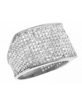10K White Gold Men's Pave Eternity Real Diamond Ring Band 1.40 Ct