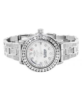 Custom Ladies Breitling Aeromarine White MOP Colt 33 Diamond Watch (13.5 Ct)
