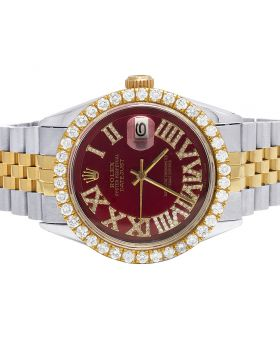 Rolex Datejust 18K/ Steel Two Tone 36MM Red Dial Diamond Watch 4.0 Ct