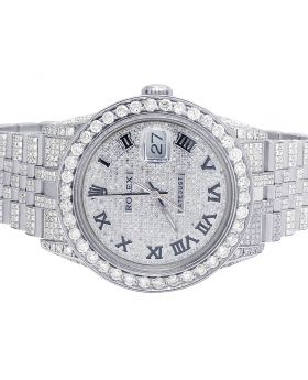 Rolex Datejust 36MM 16014 S.Steel Iced Out Diamond Watch 14.75 Ct