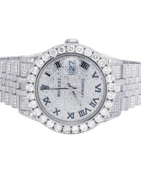 Rolex Datejust 36MM 16014 S.Steel Iced Out Diamond Watch 17.95 Ct