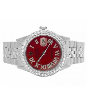 Mens Rolex Datejust 36MM Oyster Red Roman Dial Diamond Watch 3.5 Ct
