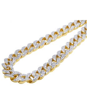 10K Yellow Gold Miami Cuban Link Diamond Necklace 34Ct 16MM