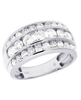 Real 14K White Gold Diamond Three Row Wedding Band Ring 3 CT 11MM