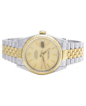 Mens 36 MM Rolex Datejust 18k 2 Tone 16233 Champagne Dial Watch
