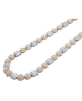 """14K Two Tone Rose White Gold Baguette Flower Cluster Halo Diamond Tennis Chain 9MM 20"""" 17.05 CT"""