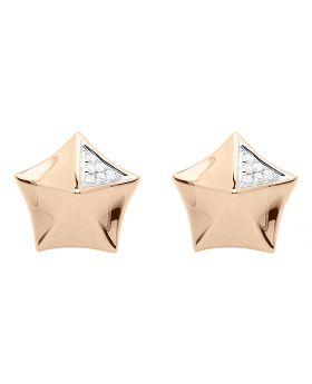 14k Rose Gold Pentagon Pyramid Diamond Studs (0.10 ct)