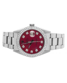 Mens Rolex Datejust Quick-Set Oyster Red Dial Diamond Watch 1.75 Ct