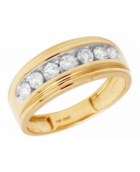 10K Yellow Gold Real Diamonds Men's One Row Wedding Band Ring 0.75ct