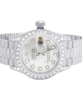 Ladies Rolex 26MM Datejust 18K White Gold Diamond Watch (6.75 Ct)